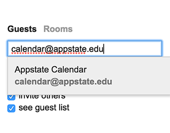 Guests section of event editing screen in Google Calendar
